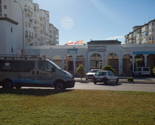 Black Frog Diers van in front of the scuba diving shop based in Torrox Costa