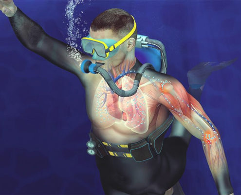 scuba diver bosy absorbing nitrogen while diving