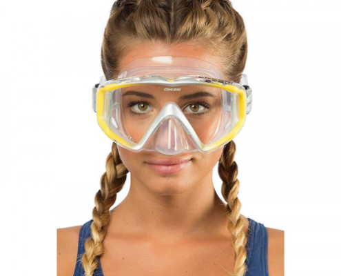 Cressi Liberty Mask yellow and transparent with side sight view
